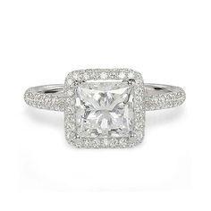 1.67ct G SI1 PRINCESS CUT DIAMOND ENGAGEMENT RING 18K WHITE GOLD At-http://www.larrysfinejewelryinc.com