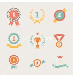 First place badges and ribbons vector by Lightkite on VectorStock®