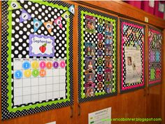 Calendar and Birthday Board - Erica's Ed-Ventures: Black & White Polka Dot Plus Brights Classroom Reveal