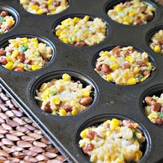 Rice & Bean Cakes and other muffin tin recipes Muffin Tin Recipes, Baby Food Recipes, Snack Recipes, Cooking Recipes, Toddler Recipes, Muffin Tin Meals, Beans Recipes, Cooking Tips, Toddler Lunches