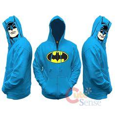 6ba249e4d1c This licensed Batman sweatshirt has the Joker s face printed on the hood.  Purple Zip-Up Hooded Sweatshirt