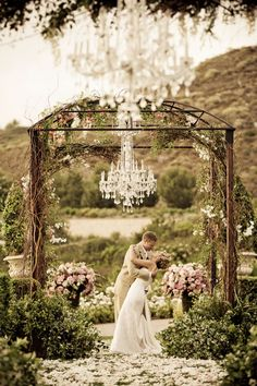Arch and Chandelier Decor for Enchanted Wedding Ceremony
