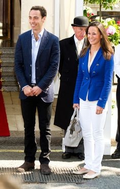 Pippa Middleton was royal in blue—a nautical royal blue blazer, that is—as she left her hotel the day after the royal wedding.