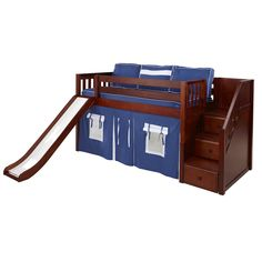 Bunk Beds Bunker sells low loft beds with stair and slide including the Delicious Hardwood Loft Bed with Stairs and Slide. Safe Bunk Beds, Cool Bunk Beds, Bunk Beds With Stairs, Kids Bunk Beds, Stair Slide, Stair Plan, Elevated Bed, Low Loft Beds, Bed End