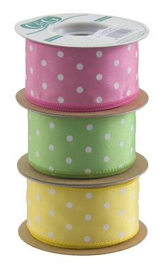 pink, green and yellow polka dot ribbon