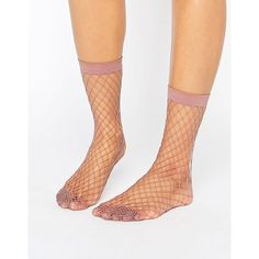 ASOS Oversized Fishnet Ankle Socks in Mauve ($5) ❤ liked on Polyvore featuring intimates, hosiery, socks, purple, purple socks, ankle high socks, transparent socks, short socks and ankle high hosiery
