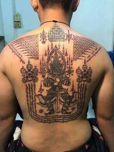 Khmer Tattoo, Thai Tattoo, Hindu Tattoos, Tattoo Ideas, Tattoo Designs, Sak Yant Tattoo, Back Tattoos, Tatoo, Buddhist Tattoos