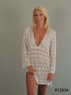 5ba75a1347a3c J. Valdi Ivory Lace Tunic Cover Up. Color Ivory. This beachwear cover up