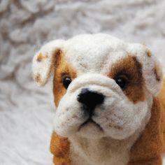 Needle Felted English Bulldog, Custom Made Pet Sculpture, English Bulldog…