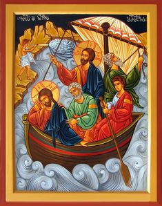 """Jesus calming the storm [He replied, """"You of little faith, why are you so afraid?"""" Then he got up and rebuked the winds and the waves, and it was completely calm. Religious Images, Religious Icons, Religious Art, Jesus Calms The Storm, Church Icon, Calming The Storm, Byzantine Icons, Biblical Art, Spirituality"""