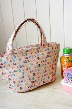 Kawaii Japanese Kokka Fabric Insulated Lunch Bag Tote