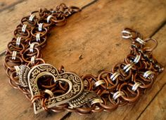 Winged heart Helm Chain Bracelet Chain Maille by marokel on Etsy, $17.00 #chainmaille