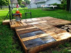 Building an outdoor deck never got easier. Time to collect pallets once again! Who else could use one of these?  Visit more DIY junk projects at Party Junk 208 / http://www.funkyjunkinteriors.net/2013/10/party-junk-208-funky-fall-decorating-2013.html