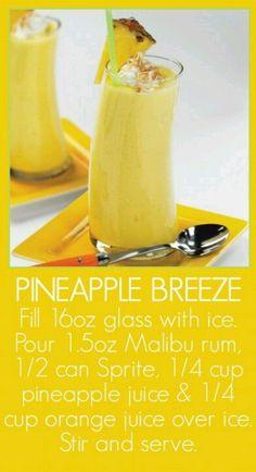 Malibu Rum Pineapple Breeze - Sounds delish! #drinks #cocktails #drinkrecipes
