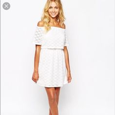 White Off The Shoulder Layered Bohemian Mini Dress