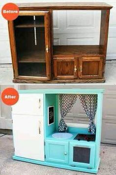 Flipping an old entertainment center, love this idea for my munchkin!