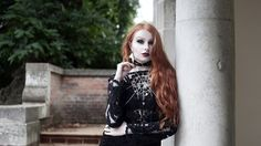 Red haired blogger Olivia Emily styles Regal Rose's Halloween collection... #halloween #got #jewellery #bat #witch