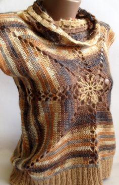 Sale Crochet vest/ Bright vest/ Warm vest/ Crazy by ElenaVorobey