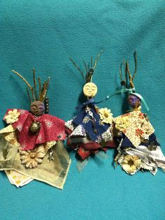 Feminine Spirit Dolls; symbolic charms, fabric scraps, scarves, beads, clay faces, twigs, ribbons, intuitions and intentions. <3