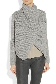 Helmut Lang  Bulky rib knit sweater ~ love the easy wrap style! No pattern, unfortunately...