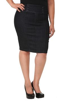 Internet exclusive! A fashion icon that gracefully skims curves, the pencil skirt gets a sexy nautical makeover: six sailor-inspired covered buttons accent the high-waisted band. Permanently pencil this one into wardrobe rotation. Tonal stitching. Two back pockets.