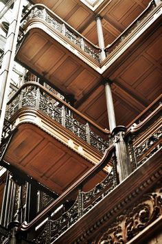 We love the magical, light filled space of Bradbury Building in LA. How amazing is the ornate ironwork? https://www.laconservancy.org/locations/bradbury-building