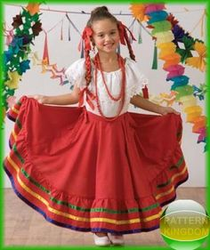 Simplicity 3863 Childs Traditional Mexican Folk Dance Dress Pattern - you have to buy the pattern. But I think it could be used as inspiration for designing my own costume.
