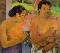 Two Tahitian women and a baby, by Paul Gauguin