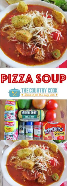 Pizza Soup recipe from The Country Cook. A hearty Italian-Style soup full of seasonings, sausage, peppers and onions!
