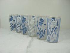 Vintage SPRING TULIP TUMBLER Set/6 Blue White Floral Glass Flower Kitchen by LavenderGardenCottag on Etsy https://www.etsy.com/listing/264367001/vintage-spring-tulip-tumbler-set6-blue