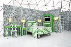 A Bed - and Entire Room - Made from Keycards at the Holiday Inn Keycard Hotel, New York USA