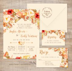 Beautiful fall wedding invitations.  Pretty flowers and fall leaves with flowing fonts and fall colors.  Perfect for any autumn wedding.  Customize your personal suite today at Jeneze Designs.