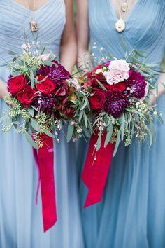 fuchsia and purple bouquets - photo by Carolynn Seibert http://ruffledblog.com/rich-and-romantic-wedding-inspiration #weddingbouquet #bouquet