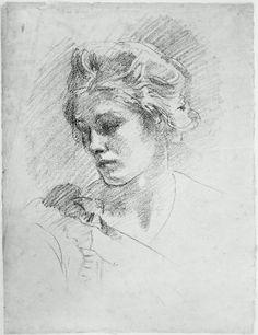 John Singer Sargent, Tête de femme, lithographie sur papier blanc, Musée des Beaux-Arts de Boston.