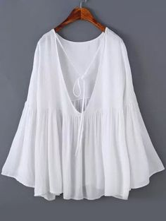 Shop Bell Sleeve Open Back White Top online. SheIn offers Bell Sleeve Open Back White Top & more to fit your fashionable needs.