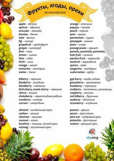Фрукты, ягоды, орехи по-английски: версия для печати на принтере