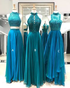 Teal prom dresses,High neck prom dresses, Beaded prom dresses, sold by BellaBridal. Shop more products from BellaBridal on Storenvy, the home of independent small businesses all over the world. Teal Prom Dresses, Beaded Prom Dress, Pretty Dresses, Bridesmaid Dresses, Formal Dresses, Wedding Dresses, Chiffon Dresses, Quinceanera Dresses, Long Dresses