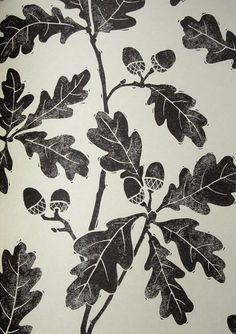 Oakwood Wallpaper Light cream wallpaper with print of oak leaves in black
