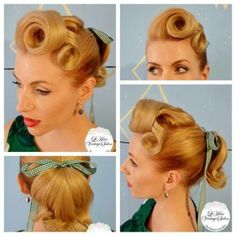 1950s victory rolls and ponytails vintage hairstyle