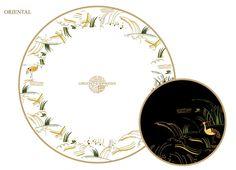 "Villeroy & Boch dinnerware designed for the legendary Orient-Express ""L'Oriental Dining Car"". I love the egret black plate"