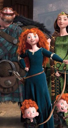 Aem Princess Merida of Dunbroh, and this is ma fameli! Watch out for ma brothers- the'er wee devals! Brave Merida, Merida Disney, Brave Disney, Disney Pixar, Disney And Dreamworks, Disney Cartoons, Pixar Movies, Disney Movies, Disney Characters