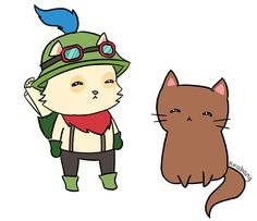 Teemo and cat by pikabang.deviantart.com