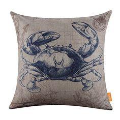 "LINKWELL 18""x18"" Retro Blue Crab Sea Marine Burlap Cushion Covers Pillow Case LINKWELL http://www.amazon.com/dp/B01ATLET5Q/ref=cm_sw_r_pi_dp_PAt3wb0XKAWAN"