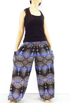 ST81 Thai Women Clothing Comfy Rayon Bohemian Trousers Hippie Baggy Genie Boho Pants Flower Black Blue Maxi Pants, Harem Trousers, Trousers Women, Gypsy Pants, Boho Pants, Bohemian Style, Hippie Boho, Genie Pants, Aladdin Pants
