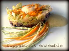 Sauerkraut salad, orange, stewed beef, seasoned with  doppelbock beer zabaione