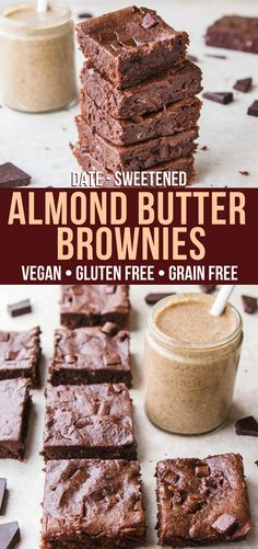 Vegan Almond Butter Brownies that are also Gluten and Grain Free! They\'re fudgy and decadent, but also a healthy dessert. #vegan #plantbased #brownies #paleo #grainfree #healthydessert #chocolate #vegandessert #almondbutter #almondbutterbrownies #fudgybrownies #easyveganbrownies #healthybrownies via frommybowl.com