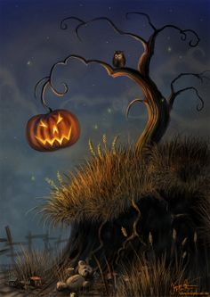 Halloween Jack-o'-lantern  Hanging from Tree ~Repinned Via inkspot
