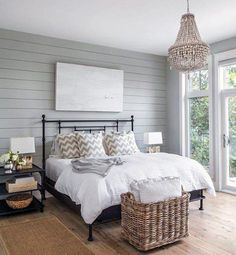 Accent Wall Bedroom, Gray Bedroom, Modern Bedroom, Trendy Bedroom, Accent Walls, Bedroom Rustic, Feature Wall Bedroom, Grey Walls, Master Bedroom Interior