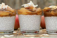 Apple Compote Tapioca Pearl Pudding Tapioca Pearls, I Foods, Glass Of Milk, Pudding, Apple, Desserts, Ice, Tailgate Desserts, Dessert