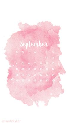 Pink blush watercolor September calendar 2016 wallpaper you can download for free on the blog! For any device; mobile, desktop, iphone, android!